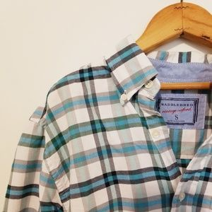 Saddlebred teal soft flannel small button down